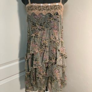 Free People Sheer Floral Tunic xsmall